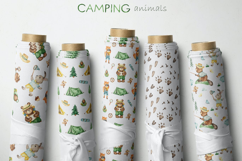 时尚清新超可爱手绘水彩风格夏令营小动物插画大集合designshidai_chahua022