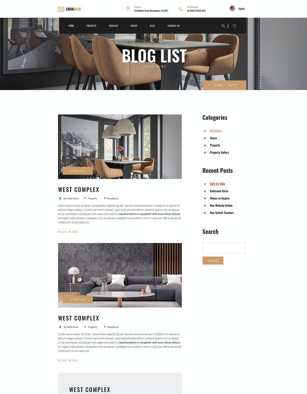 EnvArch-体系结构和单一属性网页设计模板designshidai_ui152