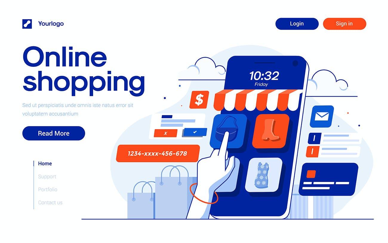时尚多用途的高品质各种主题banner海报着陆页矢量UI插画设计模板designshidai_chahua016