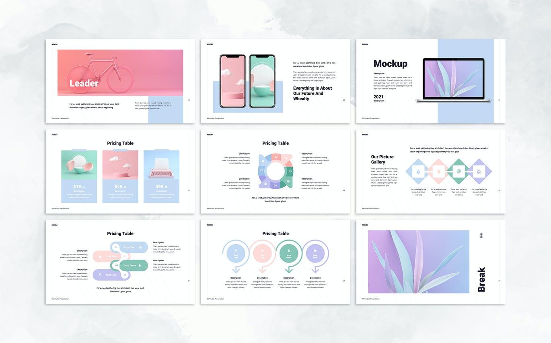 时尚高端简约清新多用途powerpoint幻灯片演示模板designshidai_ppt090