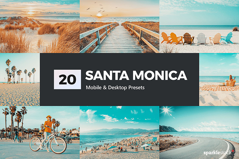20款海滩旅行照片LR调色预设 20 Santa Monica Lightroom Presets and LUTs designshidai_Lryushe014