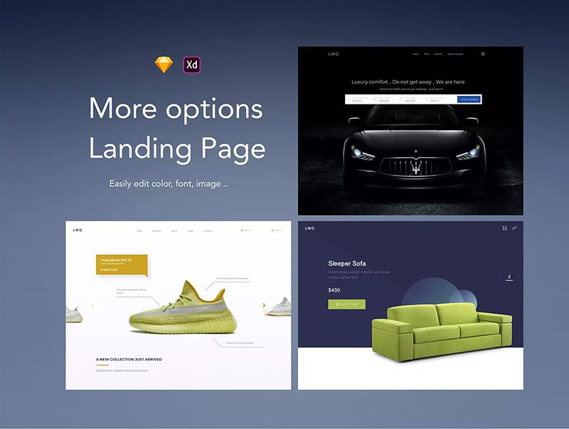 9种不同样式的着陆页UI套件designshidai_yj434