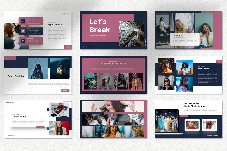 时尚高端简约清新专业的社交媒体风格powerpoint幻灯片演示模板designshidai_ppt095
