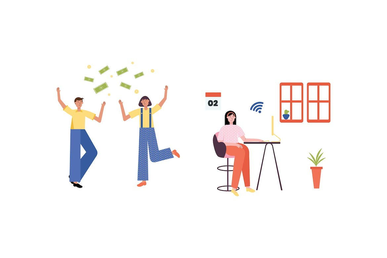 时尚简约可爱谷歌风格矢量插画banner海报设计模板集合designshidai_chahua023