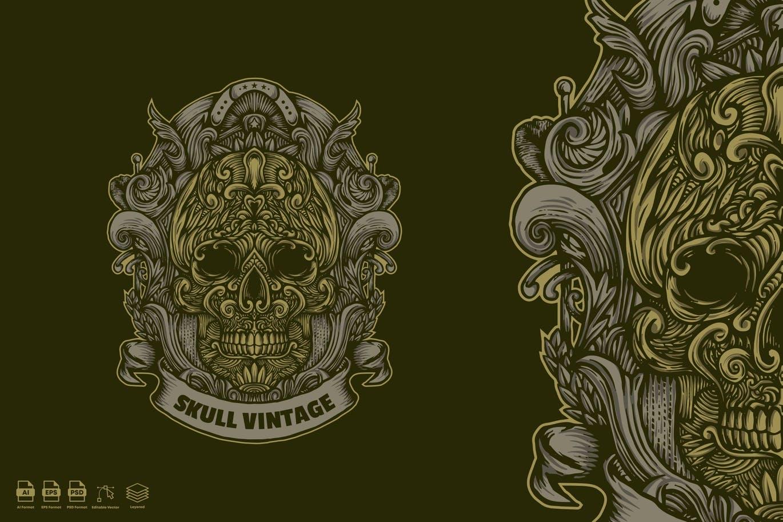 时尚个性的骷髅头矢量插画设计模板designshidai_chahua007