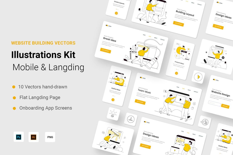 时尚高端多用途的建筑网站UI设计矢量插画插图banner海报着陆页设计模板集合designshidai_chahua015