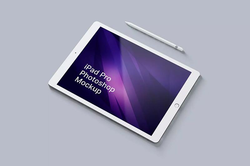 iPad Pro 绘画作品展示PSD样机designshidai_yj475