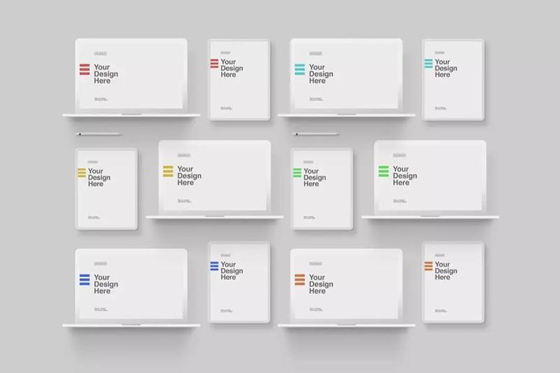 极简白色粘土风格MacBook Pro & iPad平板电脑样机套装designshidai_yj476