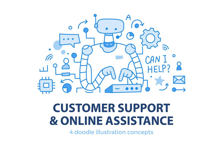 4个在线客服售后服务概念banner插画海报设计模板集合designshidai_chahua034