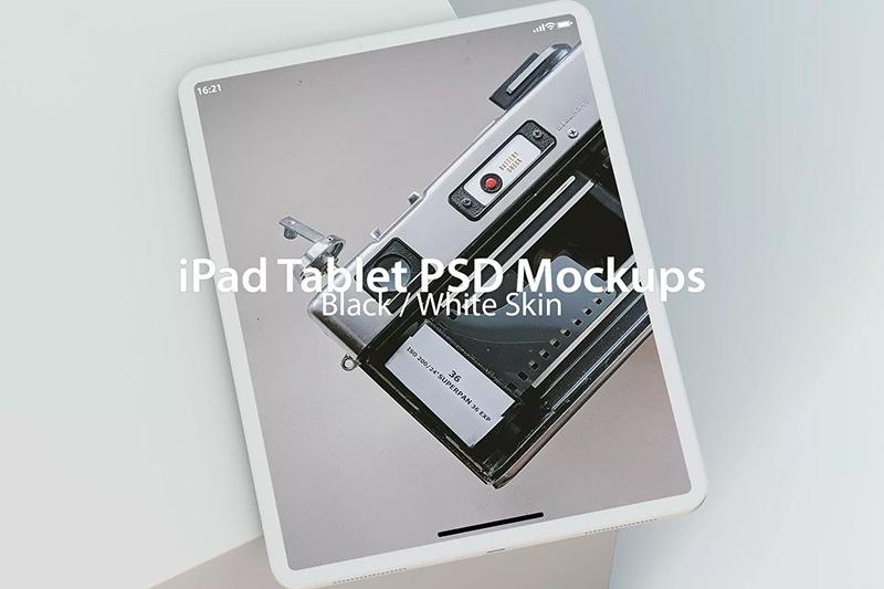黑白双色iPad平板电脑PSD样机designshidai_yj441