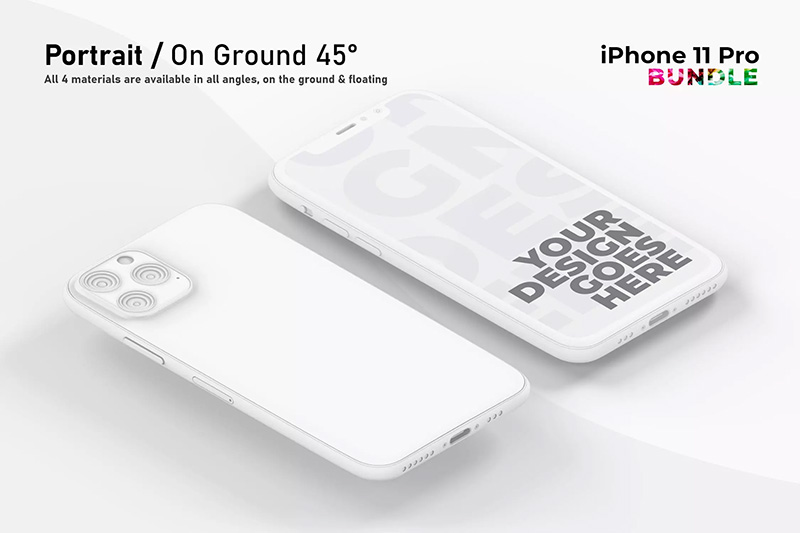 粘土风格多角度屏幕展示iPhone 11 Pro样机套装designshidai_yj448