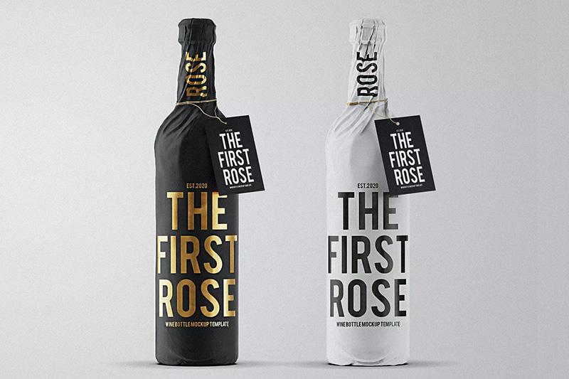酒瓶纸包装设计样机模板designshidai_yj459