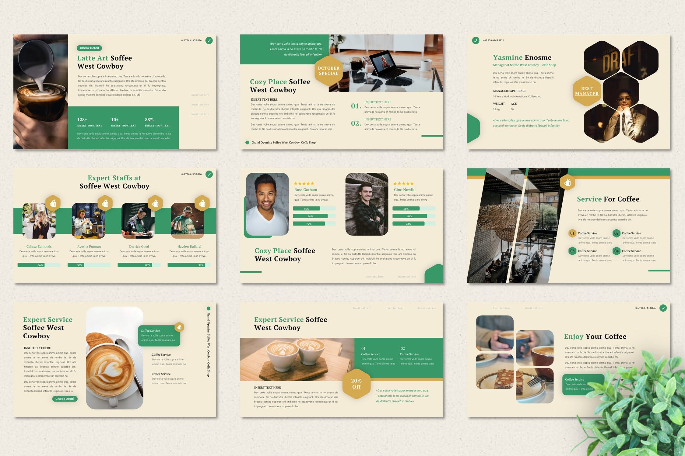 咖啡店品牌Powerpoint模板designshidai_ppt0133