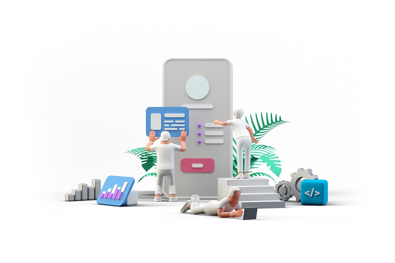 3D立体Ui Ux设计团队使用移动应用程序插图插画designshidai_chahua003