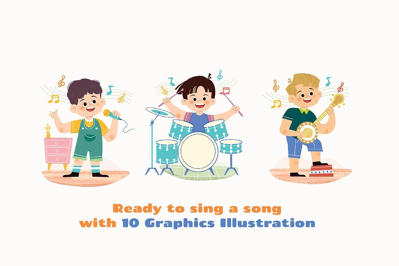 时尚高端清新简约可爱儿童矢量插画集合designshidai_chahua005