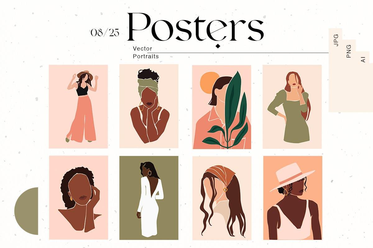 时尚高端抽象优雅的女人肖像矢量插画插图海报大集合designshidai_chahua011