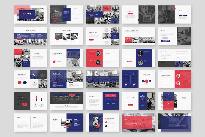 时尚高端简约专业的高品质商业商务powerpoint幻灯片演示模板designshidai_ppt088