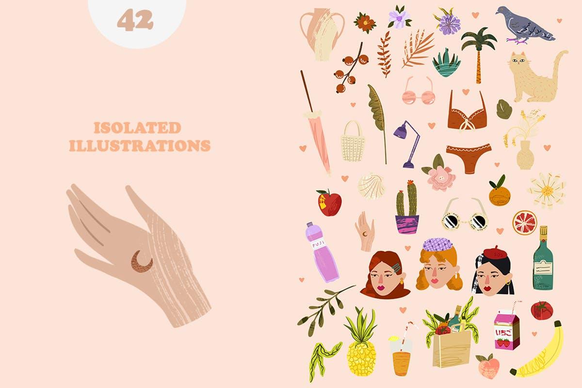 清新个性的夏天旅游手绘插画插图集合designshidai_chahua035