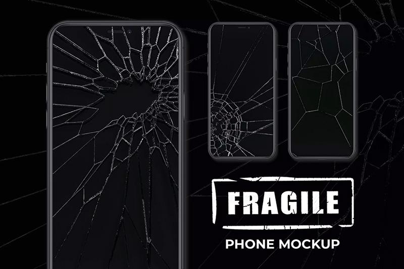 逼真的碎屏效果手机样机模板designshidai_yj451