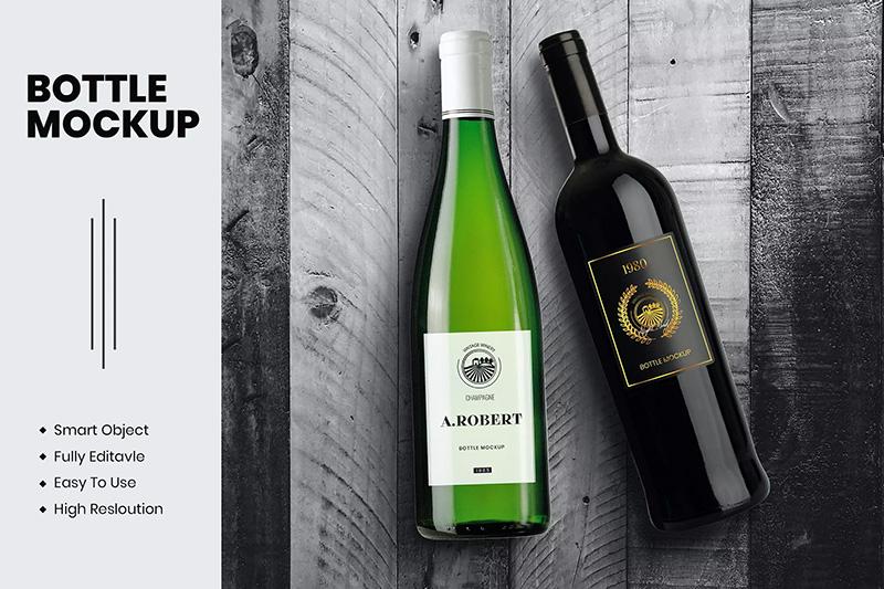 高档木板背景葡萄酒瓶子设计PSD样机绿色黑色玻璃瓶designshidai_yj469
