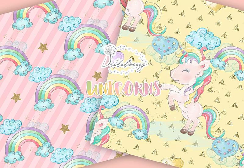 可爱水彩独角兽数码纸张图案设计素材designshidai_beijing106