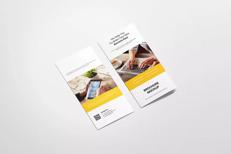 DL双折页企业宣传册设计样机模板designshidai_yj456