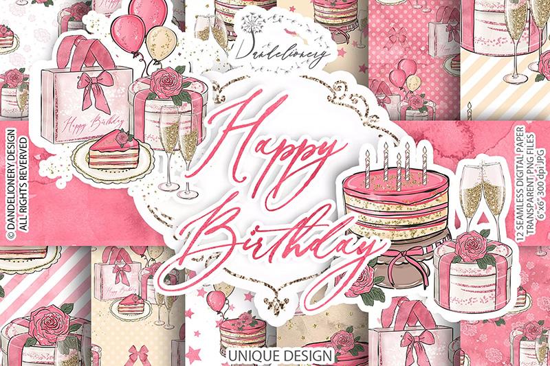 女孩生日主题水彩数码纸图案设计素材designshidai_beijing108