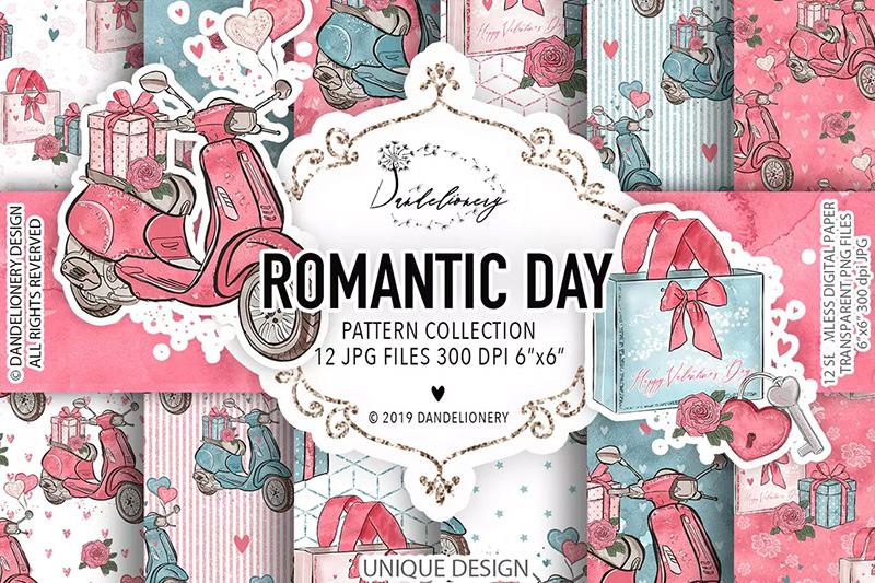 浪漫情侣节日水彩数码纸设计素材designshidai_beijing107