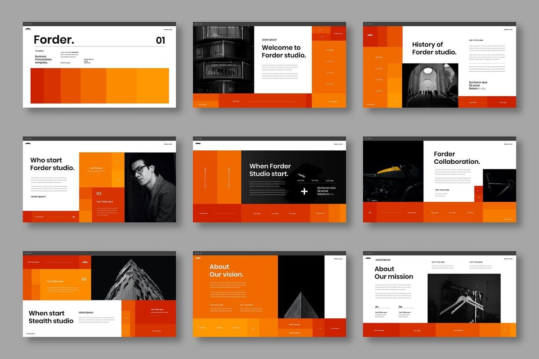 时尚高端专业的高品质多用途powerpoint幻灯片演示模板designshidai_ppt0138