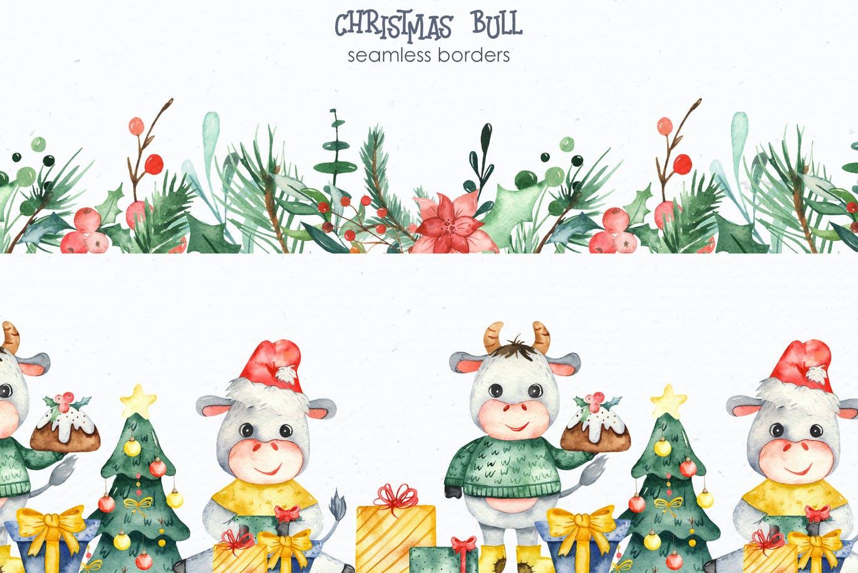 手绘水彩风格的新年圣诞节元素插画大集合designshidai_chahua014