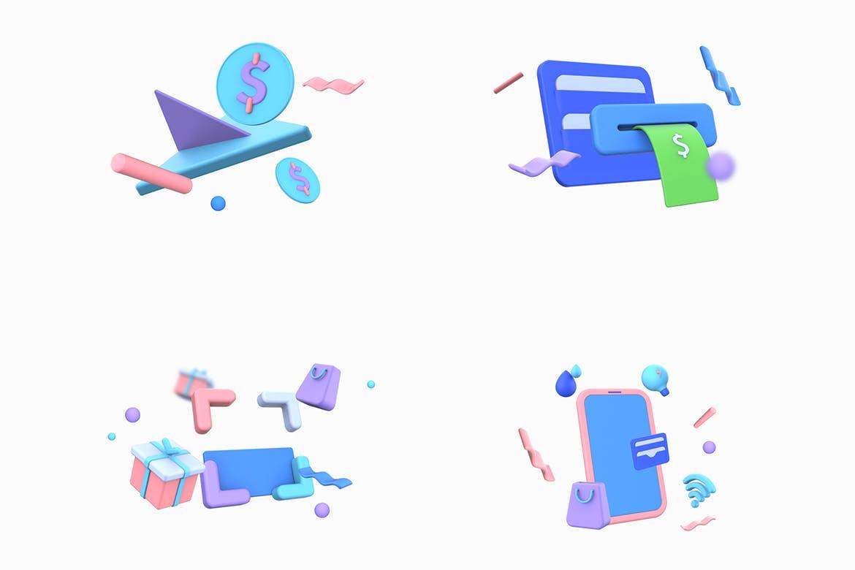 3D立体C4D风格购物促销3D插图双11电商UI插画集合Vol.3designshidai_chahua017