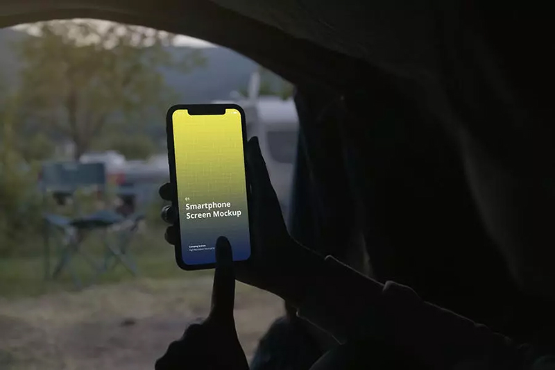 旅行度假露营场景屏幕效果图展示手机样机designshidai_yj471