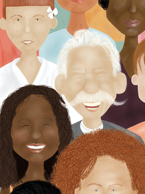 抽象的多种肤色民族人民群众头像插图插画集合designshidai_chahua021