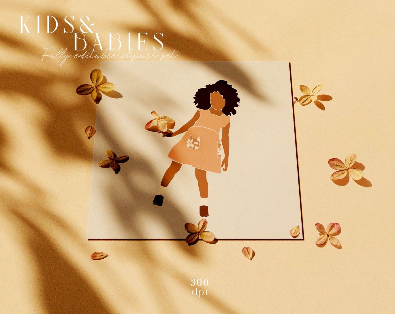 可爱抽象简约矢量孩子和婴儿剪贴画插画集合designshidai_chahua024