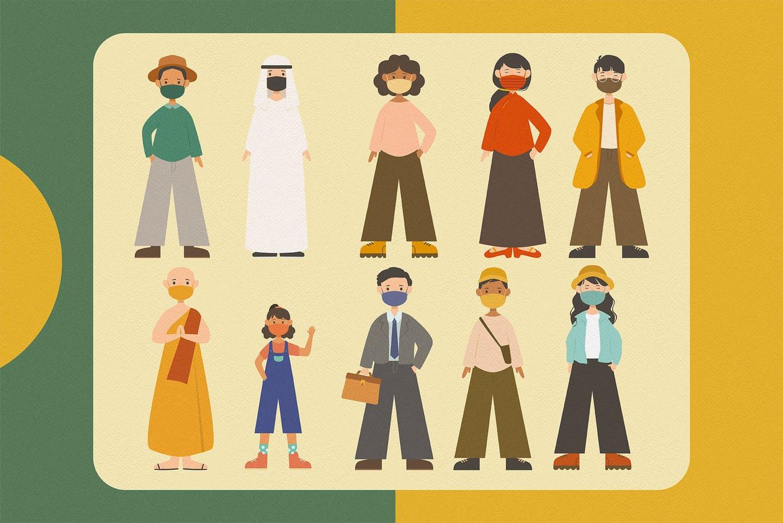 带着口罩的简约可爱人物矢量插画大集合designshidai_chahua036