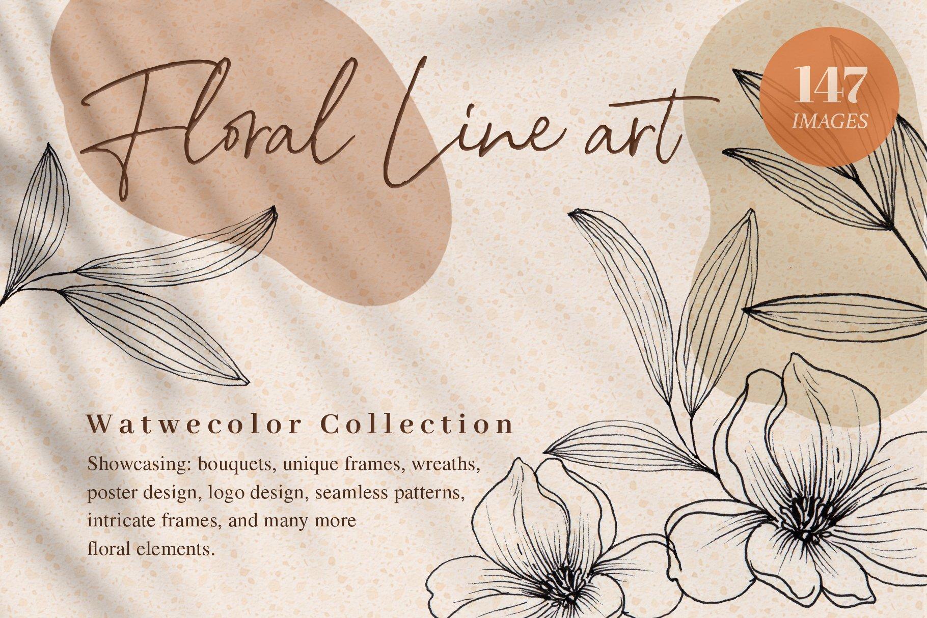 好看的花卉线条艺术独特插画素材designshidai_chahua042
