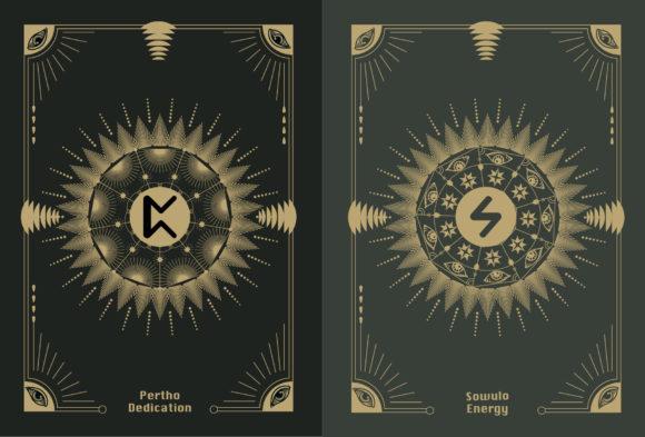 神秘古老斯堪的纳维亚符文字母卡片插画素材designshidai_chahua044