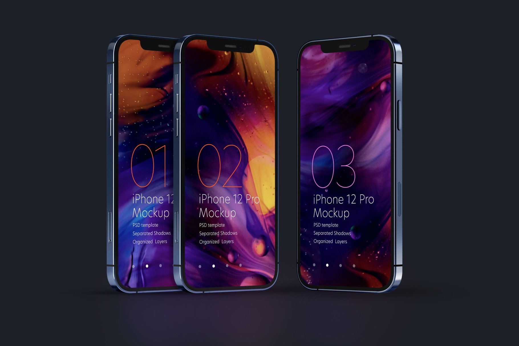 好看的深色背景iPhone 12 Pro手机样机套件designshidai_yj523