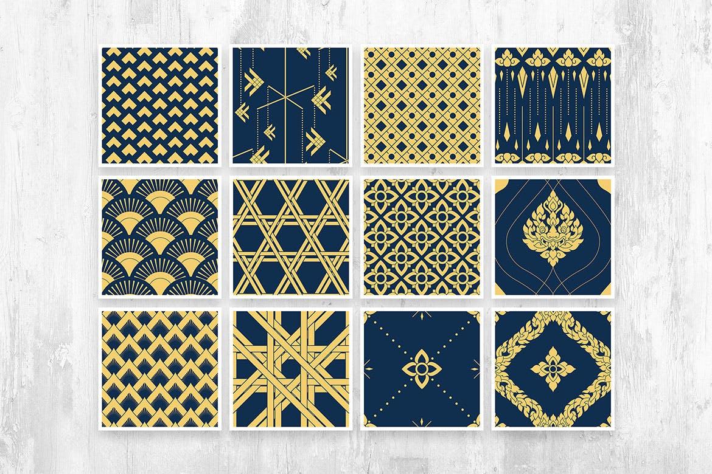 时尚高端泰国泰式无缝矢量背景底纹纹理集合designshidai_beijing123