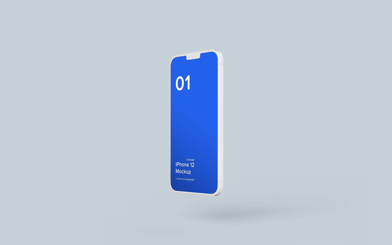 iPhone 12 白色外壳简约手机样机下载designshidai_yj550