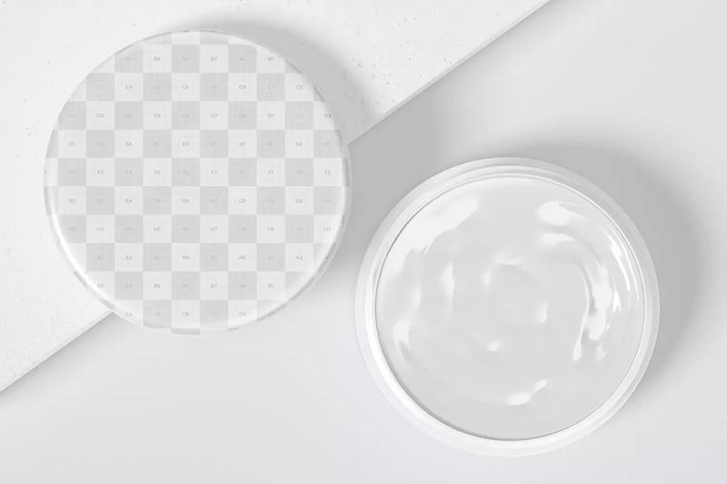 开盖状态100mm塑料化妆品面霜盒顶视图样机designshidai_yj601