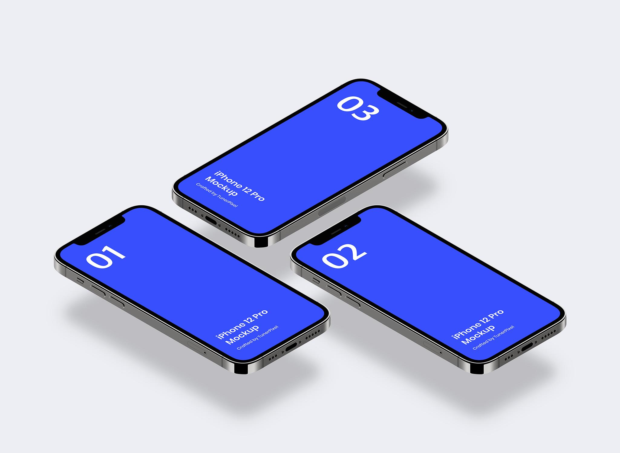 iPhone 12 手机应用程序样机designshidai_yj527