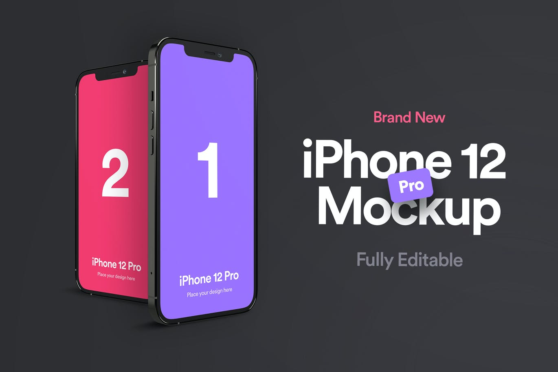 时尚高端简约好用的iphone 12 Pro APP UI样机展示模型mockups designshidai_yj535
