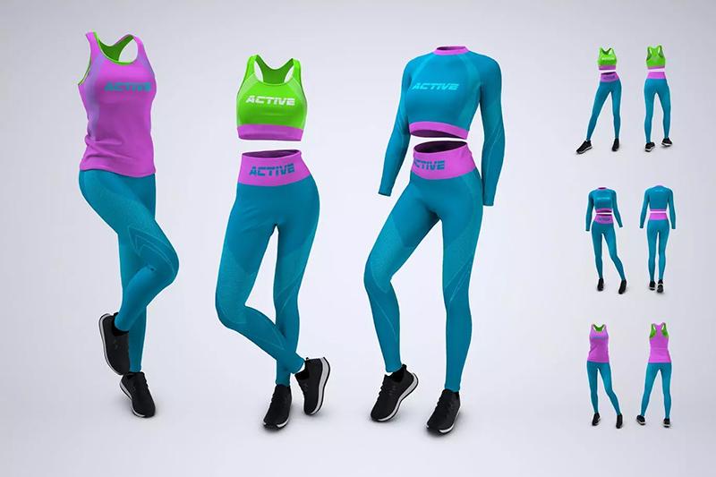 女子运动训练服装图案设计样机designshidai_yj562