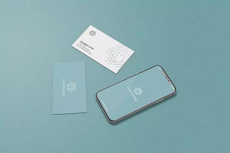 iPhone+名片同框合体广告设计实体designshidai_yj574