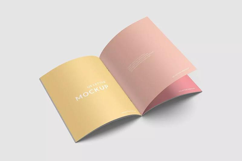 美国信纸尺寸手册展示设计高角度视图样机designshidai_zazhi051