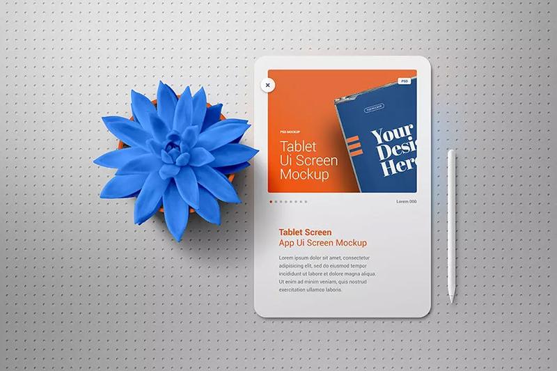 盆栽元素平板电脑屏幕演示展示样机designshidai_yj498