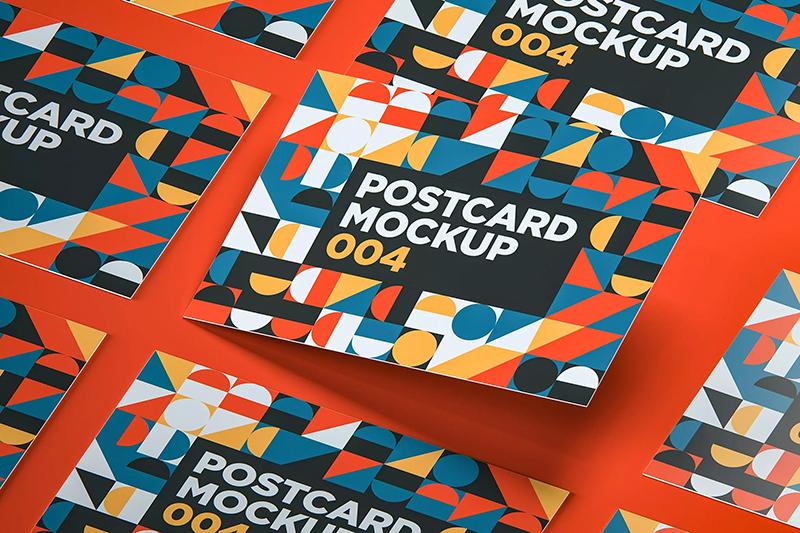 现代多图形组合拼装明信片模板designshidai_yj571