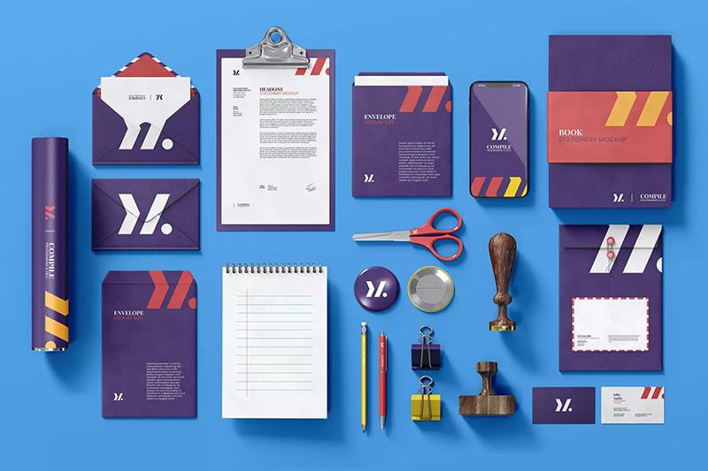 企业办公用品文具品牌VI样机套装designshidai_yj490