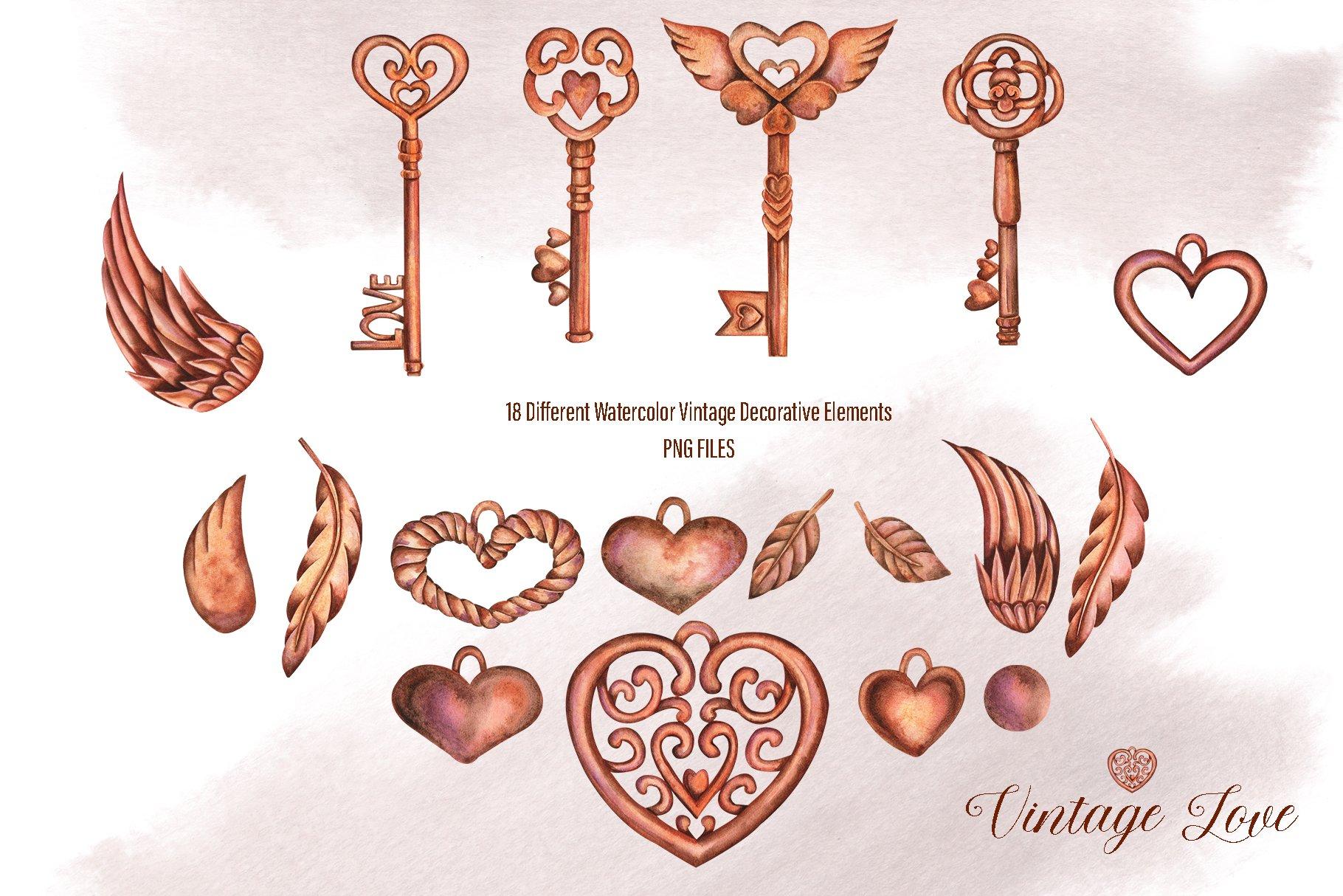 水彩复古爱心元素图形素材designshidai_chahua058